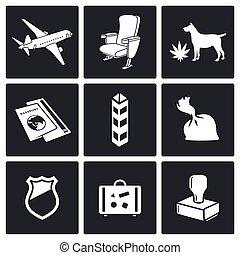 Airplane Drug trafficking icon set - drug trafficking by air...