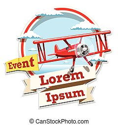 Airplane emblem logo event illustration