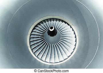 Airplane engine turbine blades.