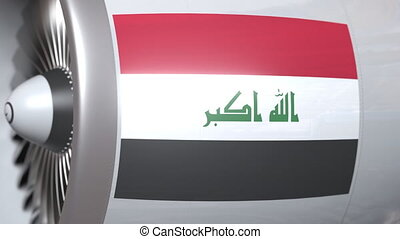 Airplane engine with flag of Iraq. Iraqi air transportation...