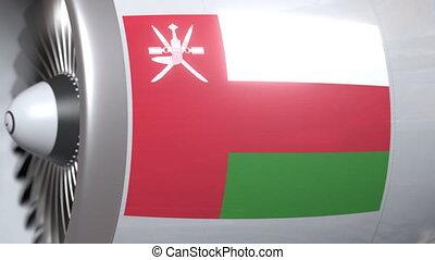 Airplane engine with flag of Oman. Omani air transportation...