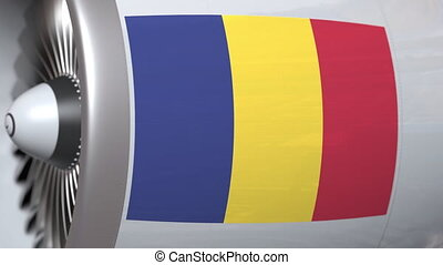 Airplane engine with flag of Romania. Romanain air...