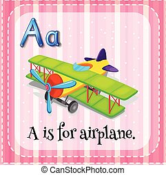 Airplane - Flashcard letter A is for airplane