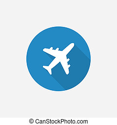airplane Flat Blue Simple Icon with long shadow