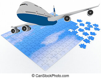 airplane flies above sky from puzz - 3d illustration an...