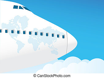 Airplane flies in the sky