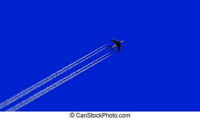 Airplane Flies Leaving a Trail, 3d Animation on a Blue ...