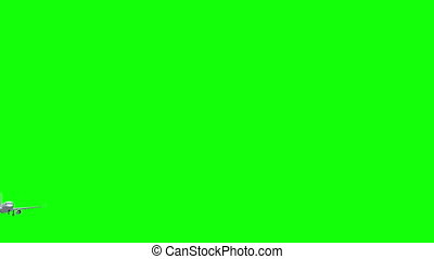 Airplane flies on green screen background. - Airplane 3d...