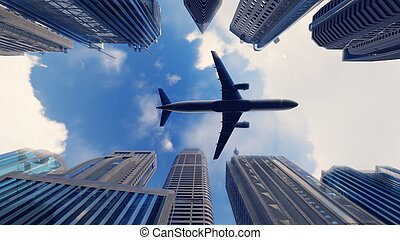 Airplane flies over a modern megapolis at sunrise. 3D Rendering