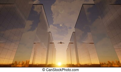 Airplane flies over skyscrapers 4k