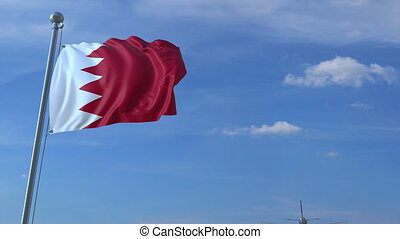 Airplane flies over waving flag of Bahrain. 3D animation