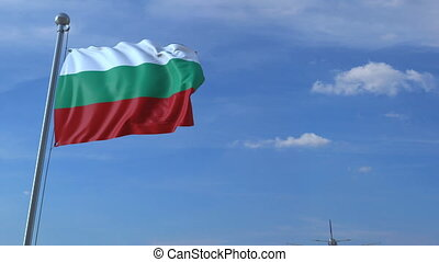 Airplane flies over waving flag of Bulgaria. 3D animation