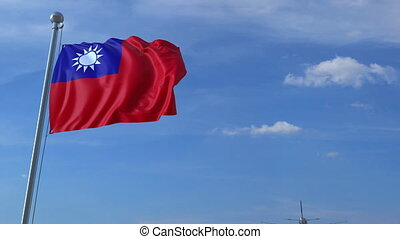 Airplane flies over waving flag of Taiwan. 3D animation