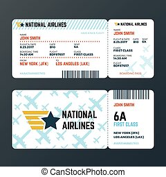 Airplane flight boarding pass ticket isolated vector template