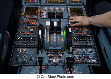 Airplane flight cockpit during takeoff