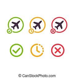 Airplane flight icon set