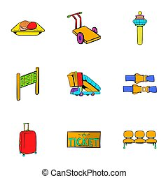 Airplane flight icons set, cartoon style