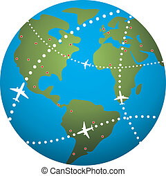 airplane flight paths over earth