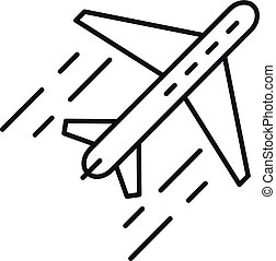 Airplane flight relocation icon, outline style - Airplane ...