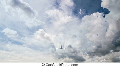 Airplane fly by sunny day blue sky. video loop - Airplane...
