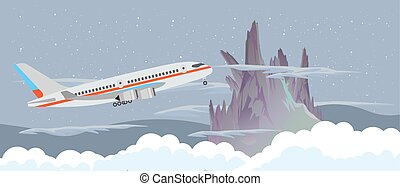 Airplane fly in the sky at night near a mountain and clouds vector flat design illustration banner