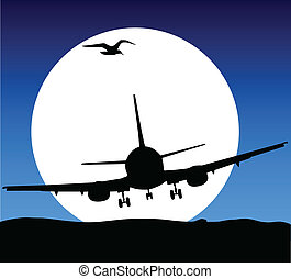 airplane fly on moon illustration