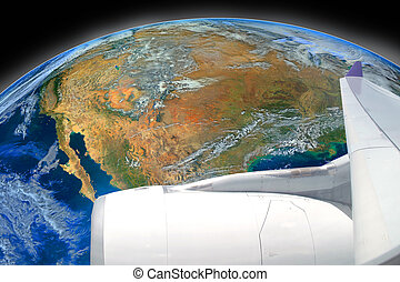 airplane fly over the earth ,including elements furnished by NASA