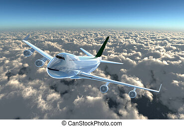 airplane fly to cam - A airplane flying in the sky, Provide...