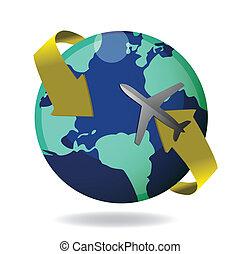 airplane, flygning, omkring, klot
