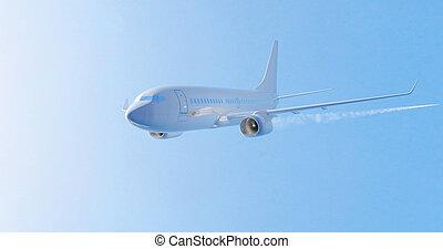 Airplane flying. 3D render