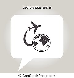 airplane flying around the earth vector icon