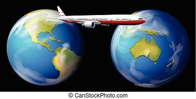 Airplane flying around the world