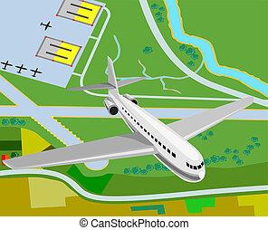 Airplane flying - Artwork on air travel