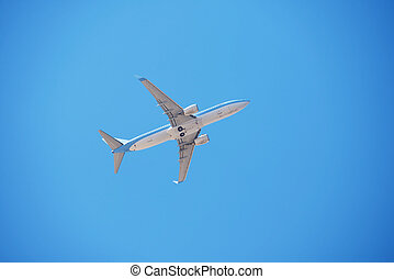Airplane flying in clear cloudless blue sky