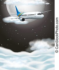 Airplane flying in dark sky illustration