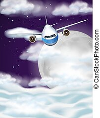 Airplane flying in sky at night time illustration