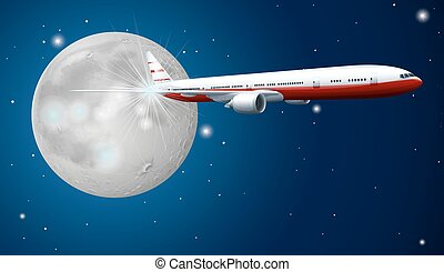 Airplane flying in the sky at night