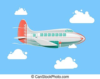 Airplane flying in the sky vector illustration