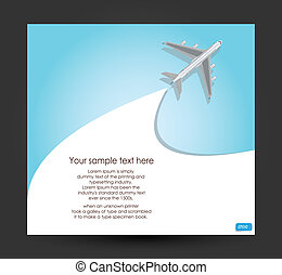 Airplane flying on blue background