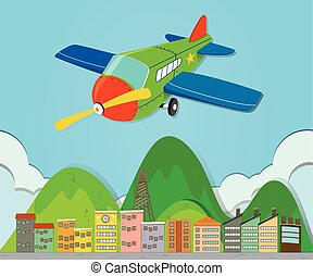 Airplane flying over a town
