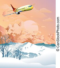 Airplane flying over Alpine mountains at dawn - Passenger ...