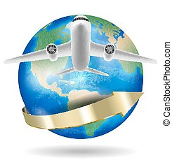 airplane flying over around the world planet