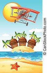 Airplane flying over island