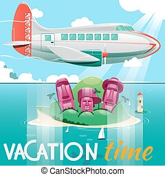 Airplane flying over island vector illustration