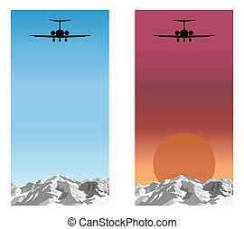 Airplane flying over mountain range blue sky and sunrise