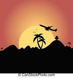 airplane flying over mountain with palm silhouette illustration