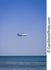 Airplane flying over sea