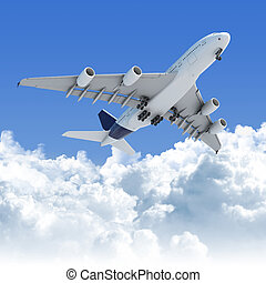 airplane flying over the clouds after takeoff - Big Jet...