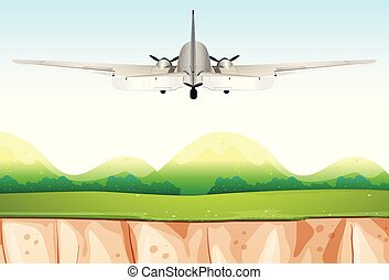 Airplane Flying Over the Hills