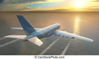 Airplane flying over the sea at sunset, loop-ready 3d...
